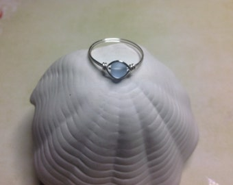 Sky blue sea glass silver plated ring