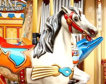Carousel Horse Photo / Carnival Print / Nursery Art / Whimsical Print / San Francisco / Fairgroud Art/ Wall Art / Fpoe / Orange / Red / Blue