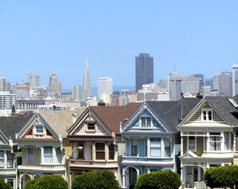 Painted Ladies Photograph / Pastel / San Francisco Print / Victorian Houses / California / Home Decor / Travel Photo / Iconic Architecture