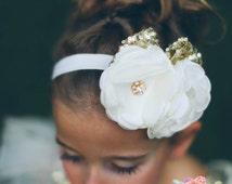 Baby Headband,Baby Headbands,Gold headband, Ivory Headband,Christening headband,Girls headband,Flower girl Headband,white headband,Hair bows