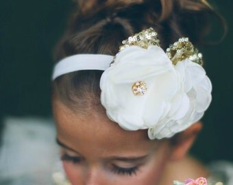 Baby Headband,Baby Headbands,Gold headband, Ivory Headband,Christening headband,Girls headband,Flower girl Headband,white headband,Hair bows