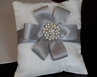 Ivory Silver Flower Wedding Ring Bearer Pillow