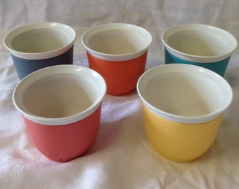 Set of 5 Vintage Tempette Thermo-Ware Dessert Dishes/ Cups