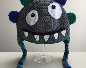 Monster Crochet Hat, Newborn Monster Hat, Baby Silly Monster Hat, Halloween Hat, Costume, Photo Prop (made to order: newborn to child)