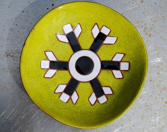 Small Vintage Acid Green Ceramic Plate/ Vide Poche By French Artist Jean Picart Le Doux. 1960s. Mint Condition