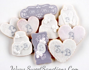 Half Dz. Wedding Cookies! Monogramed, personalized, cakes, favors and more!