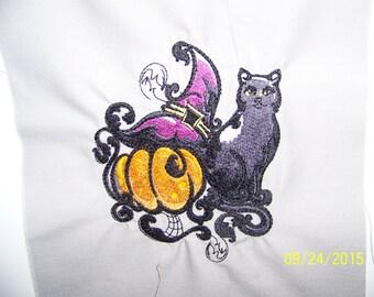 Baroque Halloween Cat, hat, and pumpkin: Kitchen Towel/Hand Towels