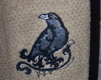 Baroque Halloween Raven: Kitchen Towel/Hand Towels