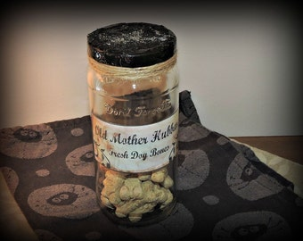 Halloween Old Mother Hubbard Bones Mad Scientist Apothecary Lab Prop Jar Fake Handcrafted