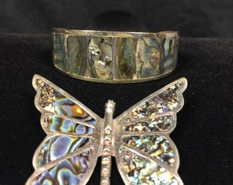 Sterling Silver and Turquoise butterfly and a Turquoise Alpaca Silver Bracelet