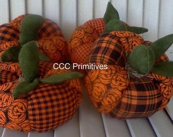 Primitive Halloween Patchwork Pumpkins - Halloween Patchwork Pumpkins - Handmade Halloween Pumpkins - Halloween Patchwork Pumpkin Set