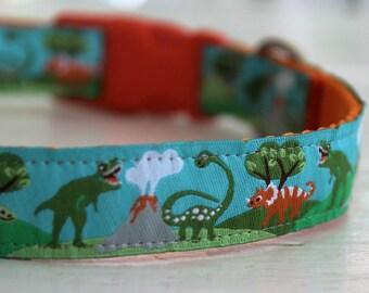 Dinosaurs Dog Collar/3/4 Inch width/T-Rex/Adjustable