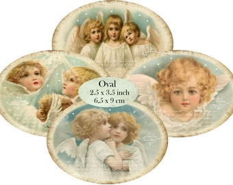 Oval Vintage Angels 3.5 x 2.5 inch Instant Download digital collage sheet O105 christmas angel anges