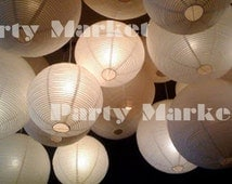 24 Paper Lantern Led set Mixed Size White Color Round Paper Lantern Lamp Shade Floral Wedding Party DIY Crafts Decoration Supplies w/ LED