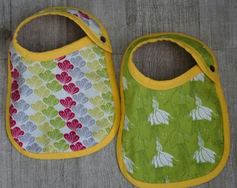 Baby bibs set of 2 : Yellow and green