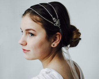 Crystal Wedding Headpiece - Dramatic Silver Head chain hair accessory - alternative tiara -Vintage style Bridal Headpiece