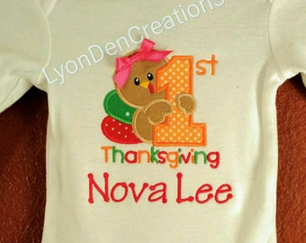 1st Thanksgiving with a Turkey for a Boy or Girl