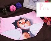 Pink Cat Jumping Out Printed Underwear - Undies - Briefs - Undergarments - Printed - Cat - Panties