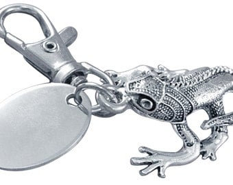 Personalised / engraved geko keyring keychain in gift pouch - PL30