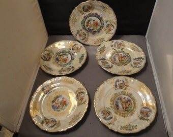 5 Vintage Winterling Bavaria Germany, Salad/Dessert Plates Irredescent With figures And Gold Trim