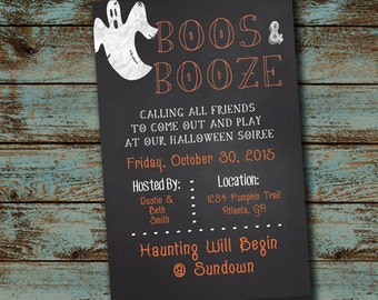 Boos & Booze Halloween Party Invitation, Halloween Chalkboard Invitation - Halloween Soiree  Digital file