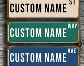 Custom STREET SIGN, Personalized Street Sign, Vintage style Street Sign, Customizable sign, Custom Outdoor Sign, Street sign decor, Street