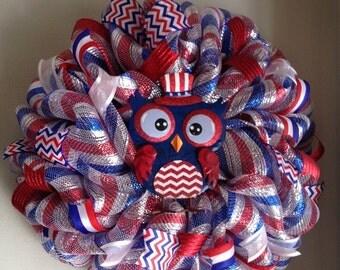 Patriotic Owl Mesh Wreath