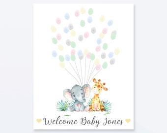 Baby Shower Fingerprint Guest Book - Elephant Giraffe Baby Shower - Personalized Alternative Guest Book - Fingerprint Tree - Jungle Friends