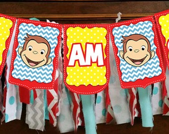 "INSTANT PRINT Curious George "" I Am ONE"" Highchair Flag Pennant Bunting Banner"