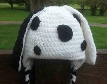 Crochet Dalmatian Earflap Hat with Fleece Lining Great for Halloween