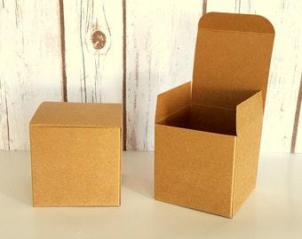 "20 Kraft Gift Boxes  3 x 3 x 3"" Wedding Favor Boxes, One Piece Tuck Tab Boxes, Christmas Gift Box"
