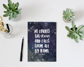 Bible quote, scripture print, PRINTABLE, Psalms 147:4 He counts the stars and calls them all by name inspirational watercolor space wall art