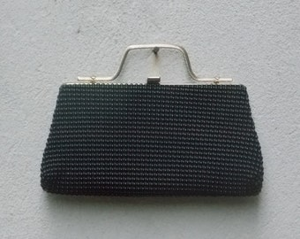 Vintage Black Beaded Clutch with Brushed Gold Top Handle
