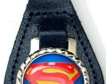 Blue Superman Logo Red Yellow Leather Key Fob Chain Steel Ring FOB-0029