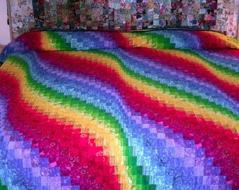 King quilt, bright rainbow bargello.