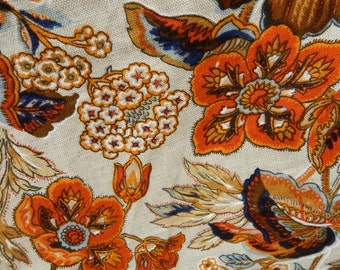 Imported Linen & Cotton Fabric Upholstery Remnant Yardage - 3-Yard Linen Remnant - Screen Printed Fabric by 5th Avenue Designs Inc. USA