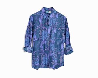 sale! 20% off - Vintage 90s Euro Disco Shirt in Indigo Blue