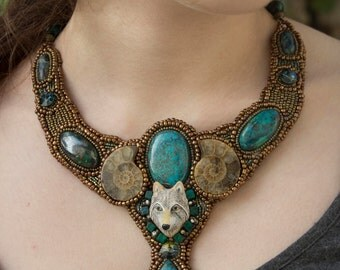 """temporarily unavailable- Pearl necklace embroidered """"Wolf Spirit"""""""
