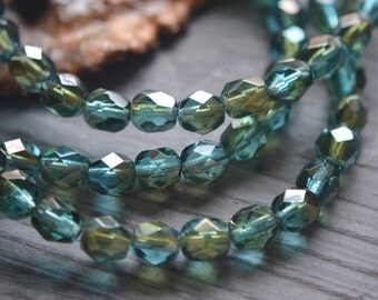 30 Czech Aqua Blue Luster Beads 6mm- Firepolished Faceted Round- Sunlit Bay (354-30)