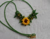 Remember Summer Sunflower Necklace, Yellow Seed Bead Jewelry, Floral Statement Necklace, Floral Seed Bead Jewelry, Yellow and Green Necklace