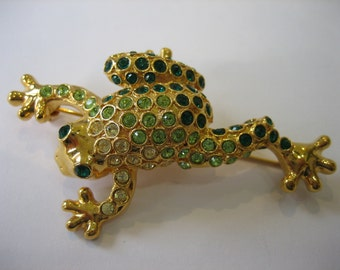 Vintage Signed MONET Green Rhinestone Leap Frog Brooch Gold Tone Costume Jewelry