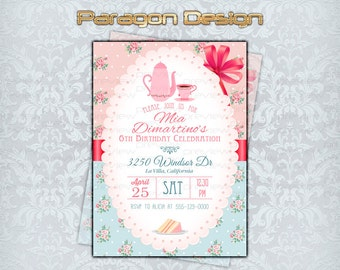 Tea Party - Vintage Rustic Floral Custom Invitation - Printable Digital File [095]