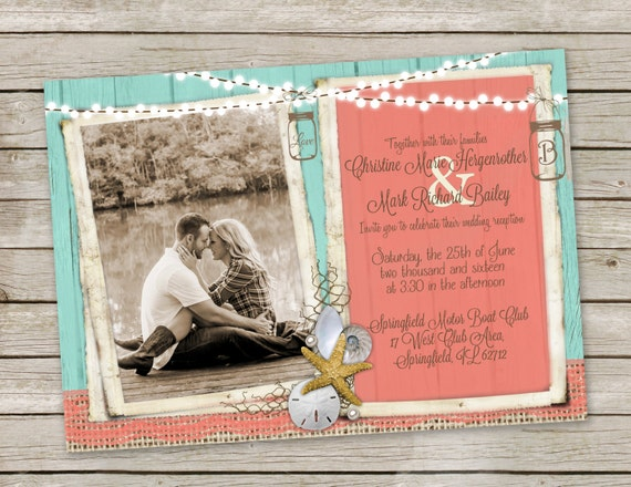 Mason Jar Beach Wedding Invitations Beach Wedding Invitation In Turquoise And Coral Mason Jars