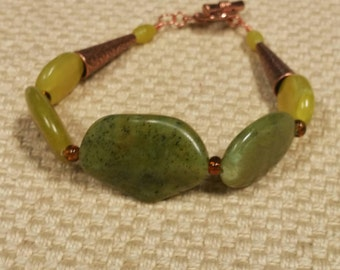 September: jade & glass bead bracelet featuring copper accents