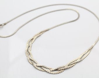 """1980s Sterling Silver Braided Serpentine Chain Necklace 18"""". [5511]"""