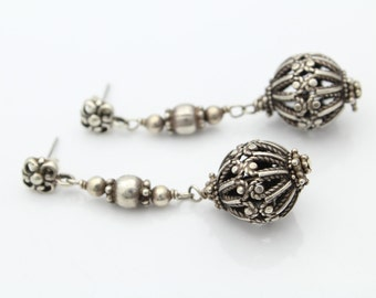 Sterling Silver Old World Style Pierced Spheres Dangle Earrings Antiqued 13.5g. [5746]