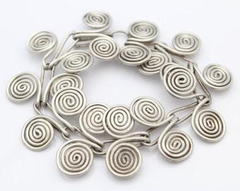 Unusual VTG Handmade Swirl Spiral Link Sterling Silver Bracelet. [6894]