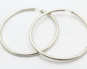 Large Lightweight Sterling Silver Hoop Earrings. [6927]