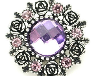 KB8917  Spectacular Large Faceted Lilac Charm Surrounded by Pink Crystals and Silver Roses