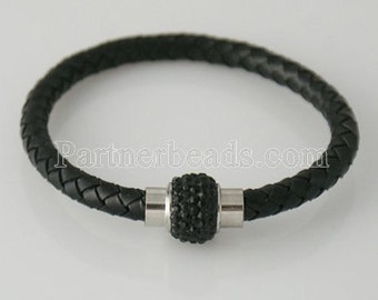LB4006  Black Leather Braided Magnetic Bracelet With Black Crystal Bead Closure